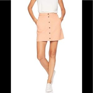 OBEY Coral Pink A Line Snap Button Skirt Denim